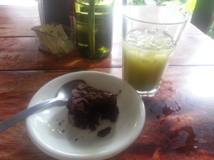 Rapidly Disappearing Brownie and Healthy Juice Drink, Garden Café, Granada