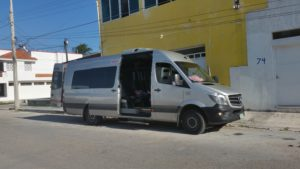 The monster van that brought me from San Cristóbal to my Air Bnb in Progreso.